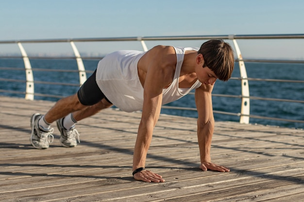 Man in plank up position