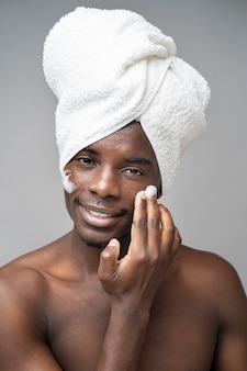 Man doing selfcare routine