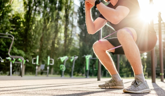 Man doing workout outdoors