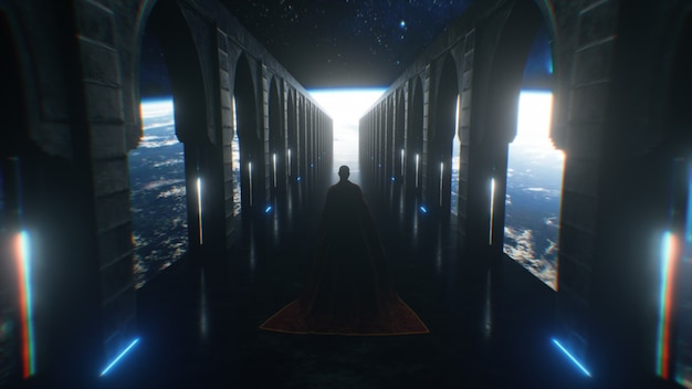 A man dressed in cloth walking down a space sci fi corridor with neon lighting. let the planet earth. fantastic concept of the future. the concept of human cognition of space. 3d animation