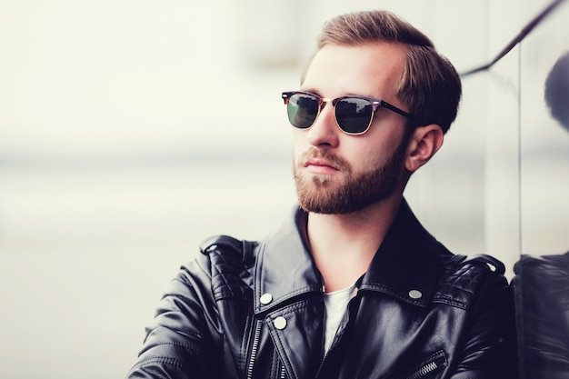 Man dressed leather jacket
