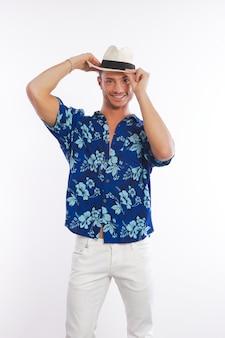 Man dressed with hawaiian shirt