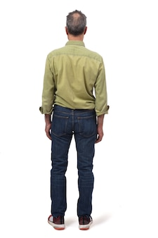 Man dressed with  jeans isolated on white