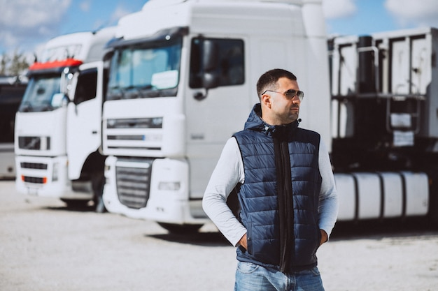 Man driver of the lorry in a logistic company