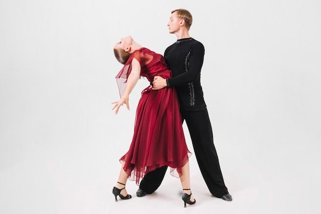 Man embracing dance partner
