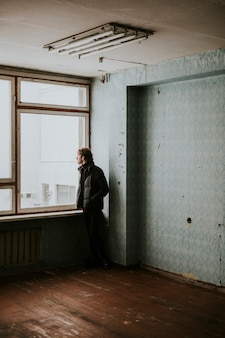 Man in an empty apartment