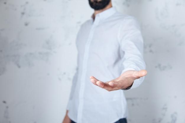 Man empty palm on white abstrat background