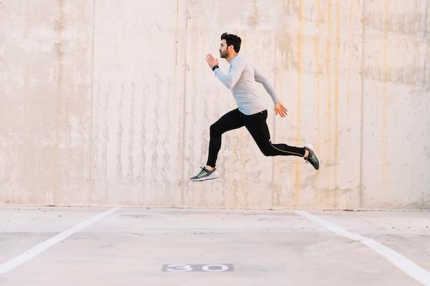 Man energetically exercising