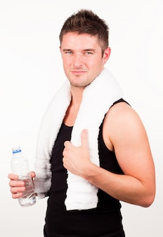 Man engaged in fitness routine