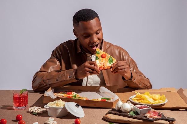 Man enjoying some delicious italian food