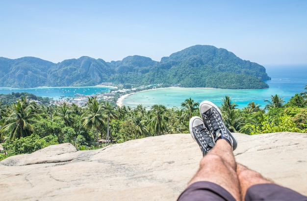 Man enjoying the view in phi phi island view point