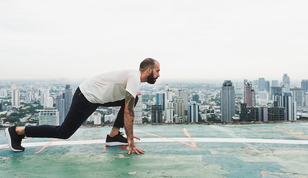 Man exercise workout rooftop concept