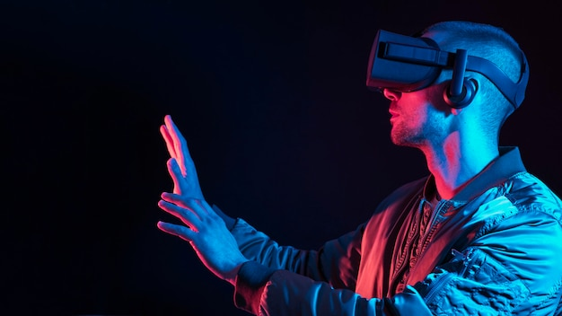 Man experiencing virtual reality with device