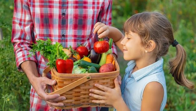 農家の男性と子供が野菜の収穫を手に持っています。