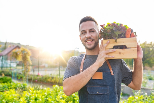 Man farmer holding fresh ripe vegetables in wooden box in garden