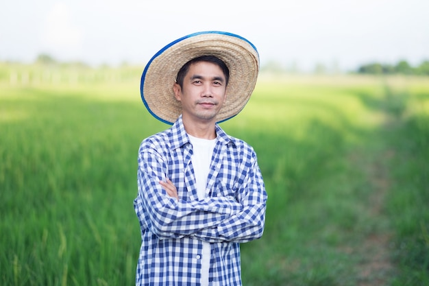 Man farmer smile and cross hands standing at a green rice farm
