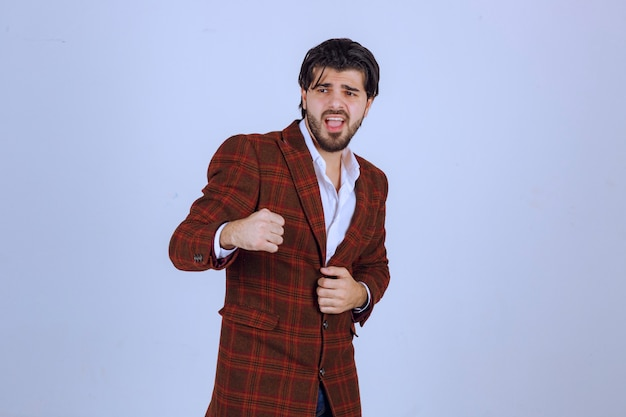 Man in fashion business dress code from fall winter collection.