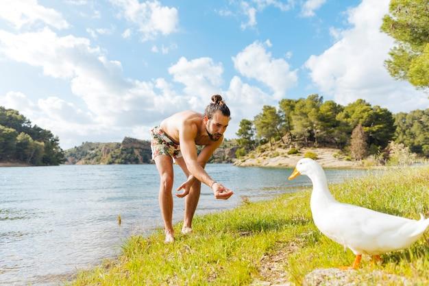 Мужчина кормит гуся на берегу