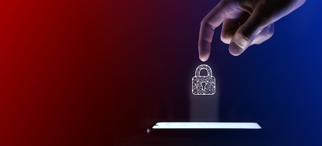 남자 손가락은 열린 자물쇠 아이콘을 클릭합니다. 웹 사이트 디자인, 로고, 앱, ui에 대한 자물쇠 자물쇠 기호. 이것은 휴대폰에서 가상 투영입니다. 네온, 빨간색 파란색 표시 등.