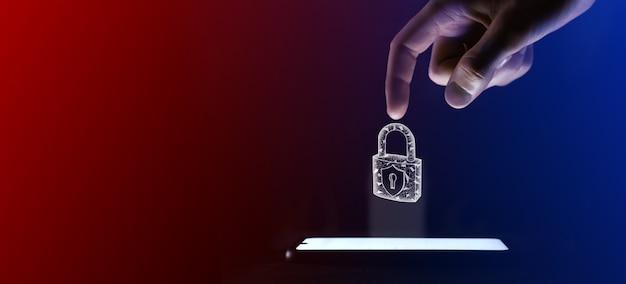 Человек пальцем нажимает на значок открытого замка. символ замка замка для дизайна вашего веб-сайта, логотипа, приложения, пользовательского интерфейса. это виртуальная проекция с мобильного телефона. неоновые, красно-синие огни.