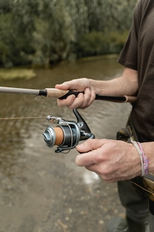 Man fishing at the river