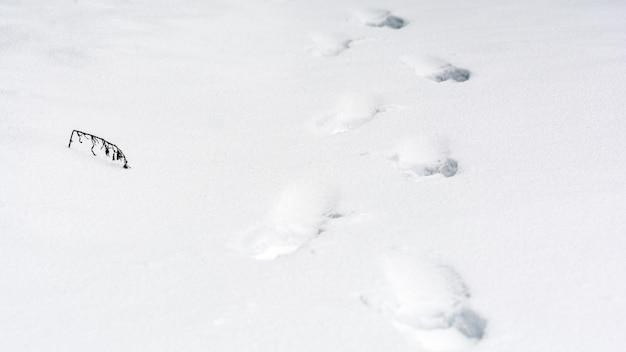 Следы человека на белом глубоком снегу