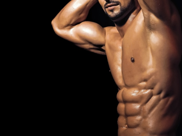 Man gay with muscular wet body and torso.