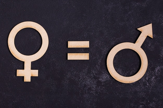 Man gender symbols equals female gender symbol