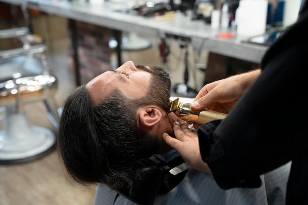 Man getting groomed close up