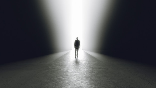 Man getting out from the darkness opening door or passage. 3d rendering.