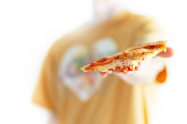 Man gives a slice of pizza