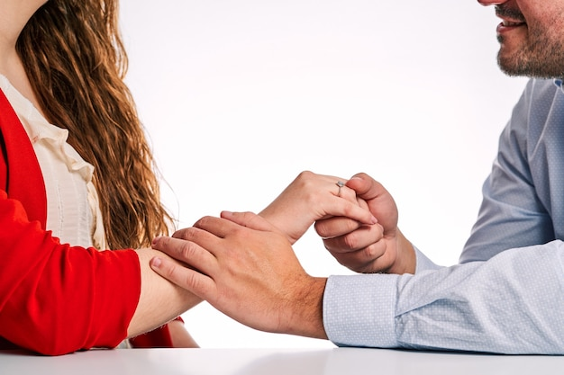 Man giving an engagement ring to his partner to propose. concept of valentine's day and couple in love.