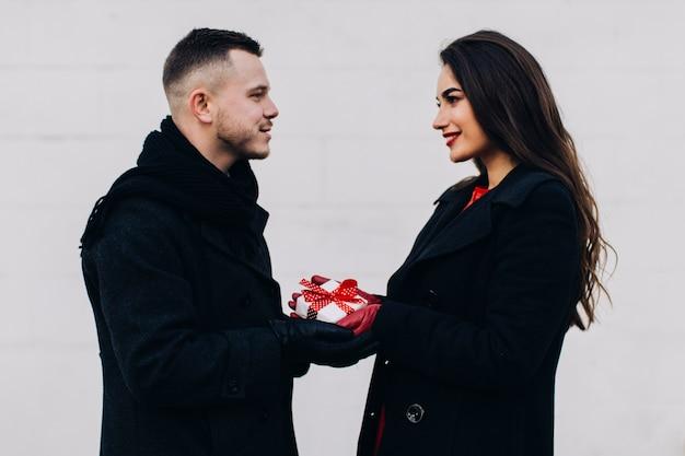 Man giving present to wonderful woman
