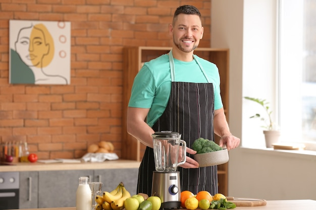 Man going to make healthy smoothie at home