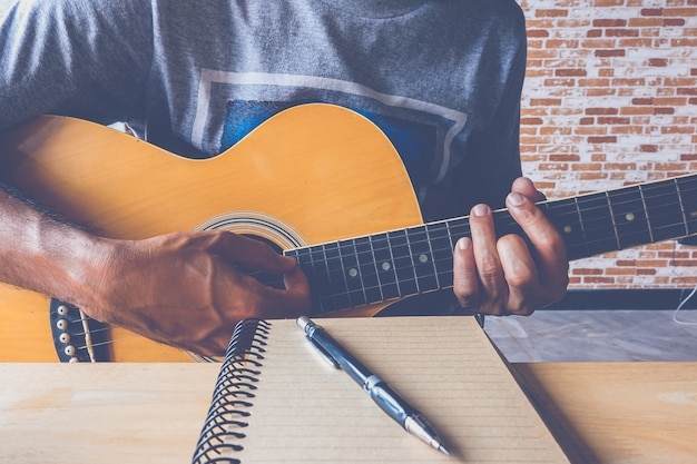 A man guitar with composing