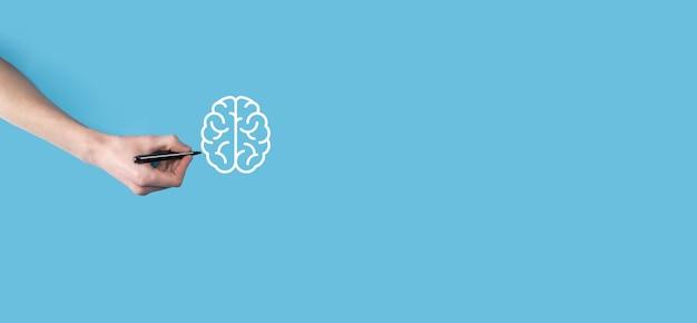 人間の手は、抽象的な脳とアイコン ツール、デバイス、顧客ネットワーク接続通信を仮想、革新的な開発、将来の技術、科学、革新、ビジネス コンセプトを描画します。
