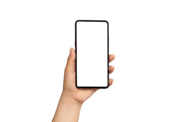 Человек рука черный смартфон и белый экран, изолированные на белом background.clipping путь