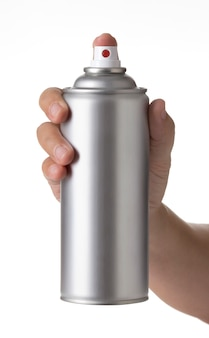 Man hand holding a blank aluminum paint spray bottle