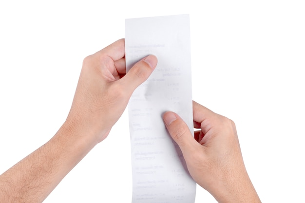 Man hand holding checking a bill receipt grocery shopping list of supermarket