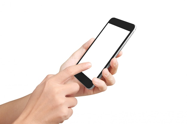 Man hand holding phone device and touching screen