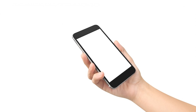 Man hand holding smartphone device touching screen