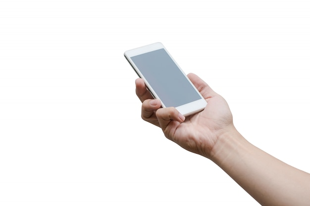 Man hand holding the white smartphone isolated on white with clipping path.