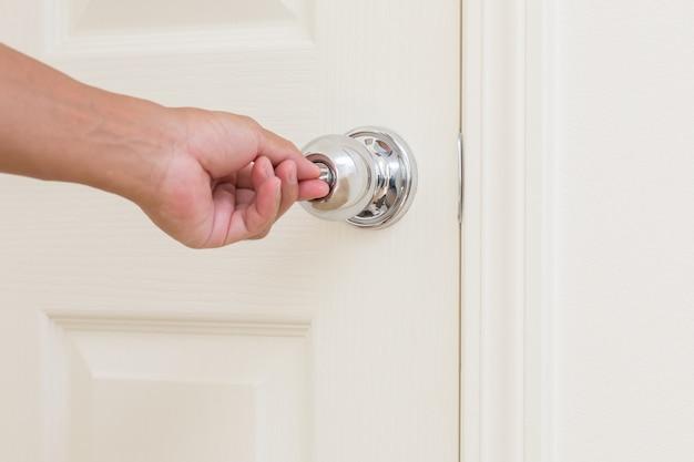 Man hand lock door knob