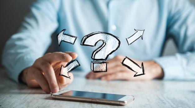 Man hand phone with question mark in screen