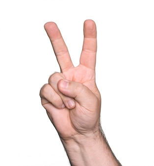 Man hand showing the sign of victory