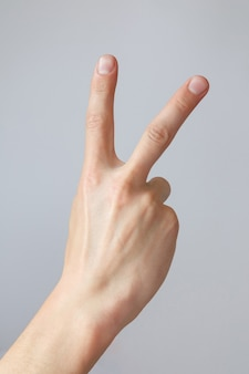 男の手は2番目を示しています。カウントダウンジェスチャーまたはサイン。手話。