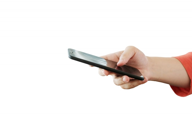 Man hand using smartphone isolated on white background
