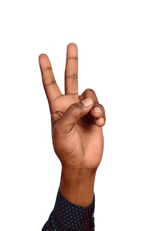 Man hand victory sign gesture