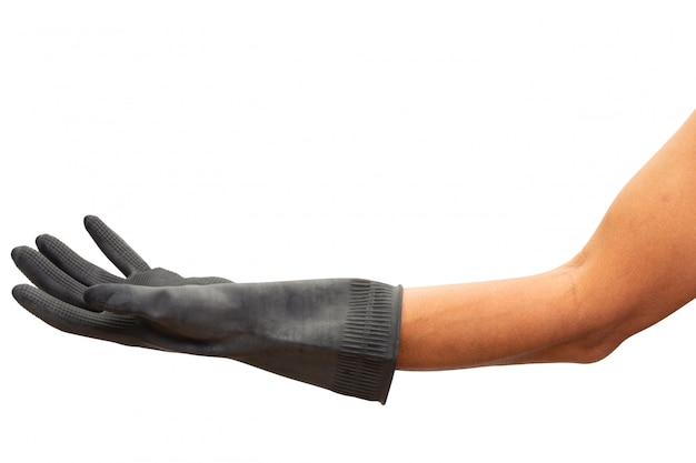 Man hand with black rubber glove. isolated on white background