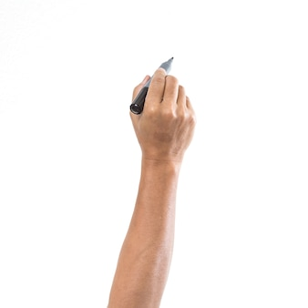 흰색 표면에 고립 된 펜으로 남자 손